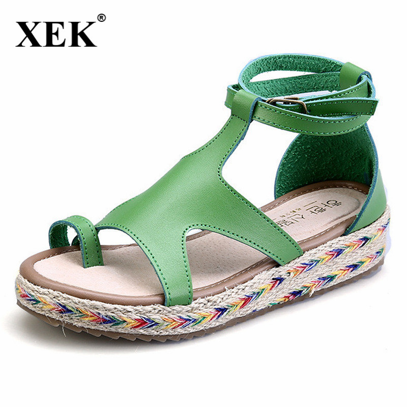 Women Sandals Fashion Straw Shoes Woman Summer Wedges Sandals Ankle Strap Casual Ladies Flat Sandals Big Size 34-43 JDD81 32 43 big size summer woman platform sandals fashion women soft leather casual silver gold gladiator wedges women shoes h19