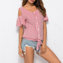 9c46c25af15 feitong Women Shirt Tops and Blouses Tee Cold Shoulder Striped V-neck Short  Sleeve