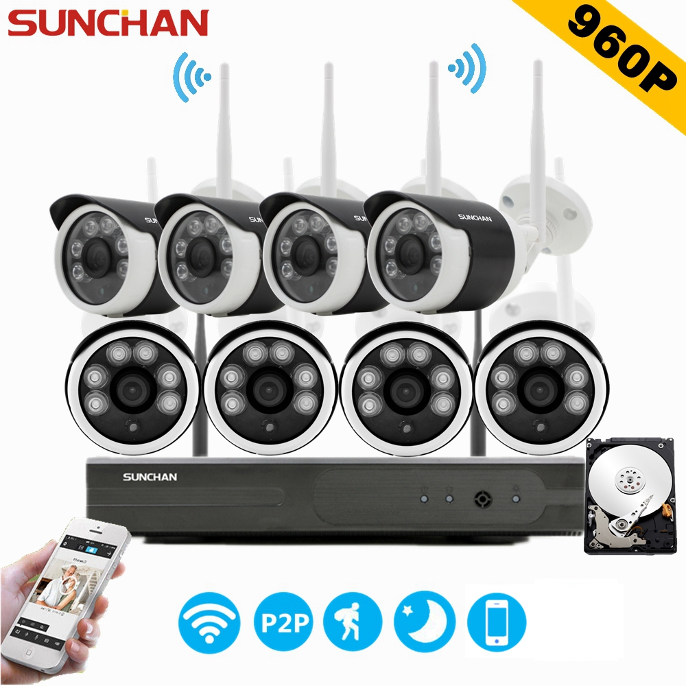 SUNCHAN CCTV System 960P 8ch HD Wireless NVR Outdoor IR Night Vision 1280 960 IP Camera