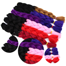AliLeader 1-10pcs Crochet Braids Red White Blue Purple Ombre Kanekalon Jumbo Braid 30 Inch Synthetic Braiding Hair Afro braid