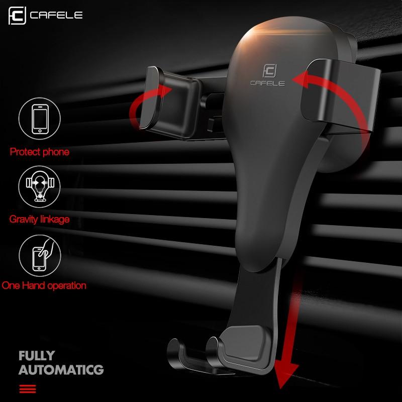 CAFELE Gravity Reaction Biltelefonhållare i bil Universal Air Vent Mount Stand GPS Mobiltelefon Bilmonteringshållare för iPhone X XS 8