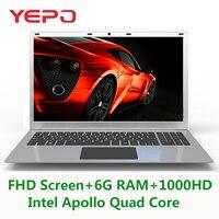 15,6 дюймов 6G RAM 1000 г HDD Intel Apollo N3450 Windows10 MINI HDMI WI FI ноутбук с установленной ОС и Bluetooth и батарея высокой емкости