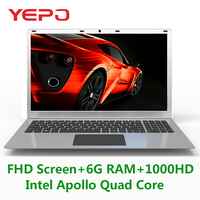 15.6 inch 6G RAM 1000G HDD Intel Apollo N3450 Windows10 MINI HDMI WIFI System Laptop with Bluetooth and High Capacity Battery