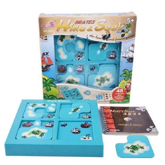 海賊隠す & シーク IQ ボードゲーム 48 チャレンジとソリューションブックスマート Iq のおもちゃの子供のパーティーゲーム家族インタラクティブ玩具