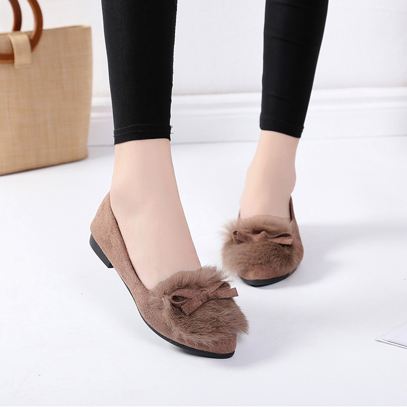 2018 Furry Bowknot Flat Casual Shoes Women Suede Fur Loafers Cute Warm Plush Ballet Flats Ladies Slip On Outdoor Vulcanize Shoes chic glitter shoes women loafers black silver lace up bowknot casual ballet flats slip on rhinestone sneakers sequins moccasins