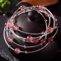 S925 sterling silver DIY handmade strawberry crystal bracelet