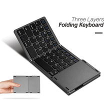 B033 Ultra Thin Light ABS Mini Bluetooth 3.0 Folding Keyboard Touchpad with Three Layers with Battery for Windows iOS Android