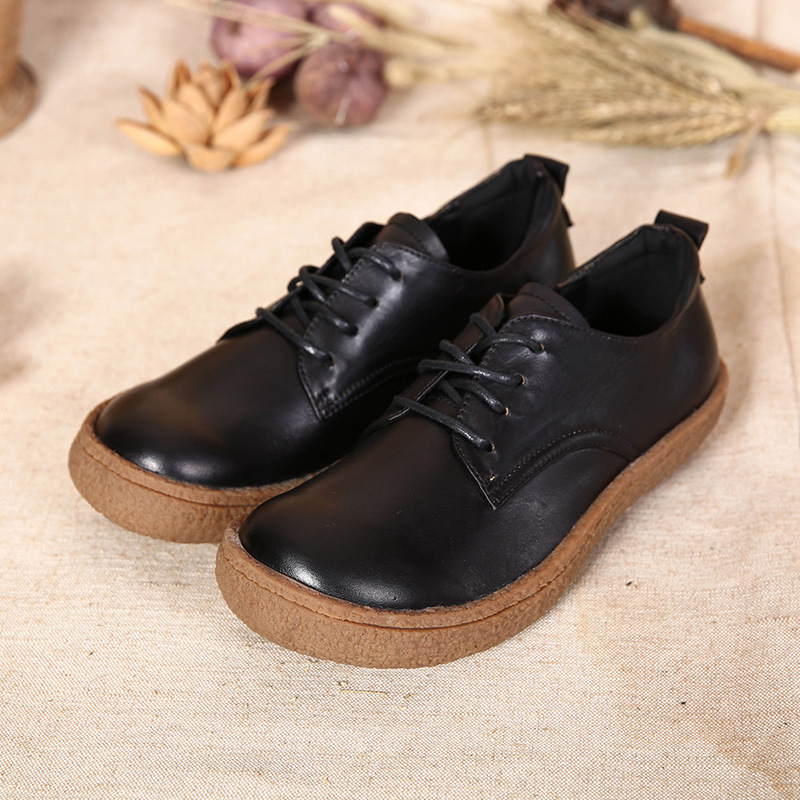 2016 new autumn thick heels cowhide leather female lace up shoes comfortable handmade casual font b