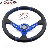 RASTP Universal 14inch 350mm Deep Corn Drifting Steering Wheel/Leather Steering wheels with Logo RS STW002