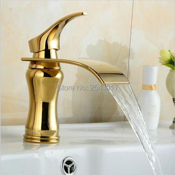 Bathroom Waterfall Faucet Golden Polished Basin Sink Mixer Tap Vanity Water Taps Bathroom Faucets Deck Mount ZR459