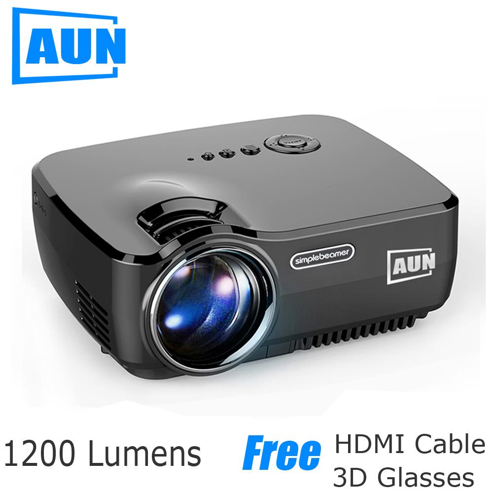 Prix pour Aun projecteur am01 série (en option android projecteur intégré wifi blutooth soutien miracast airplay), led projecteur led tv