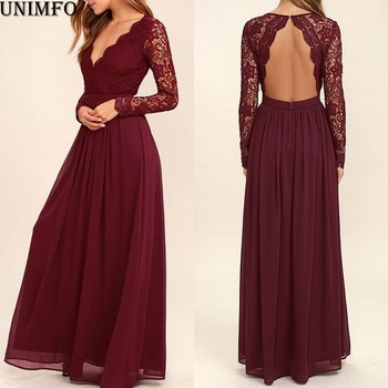 2019 Burgundy Chiffon Bridesmaid Dresses Long Sleeves  Country Style V-Neck Backless Long Beach Lace Top  Party Dress Real Image