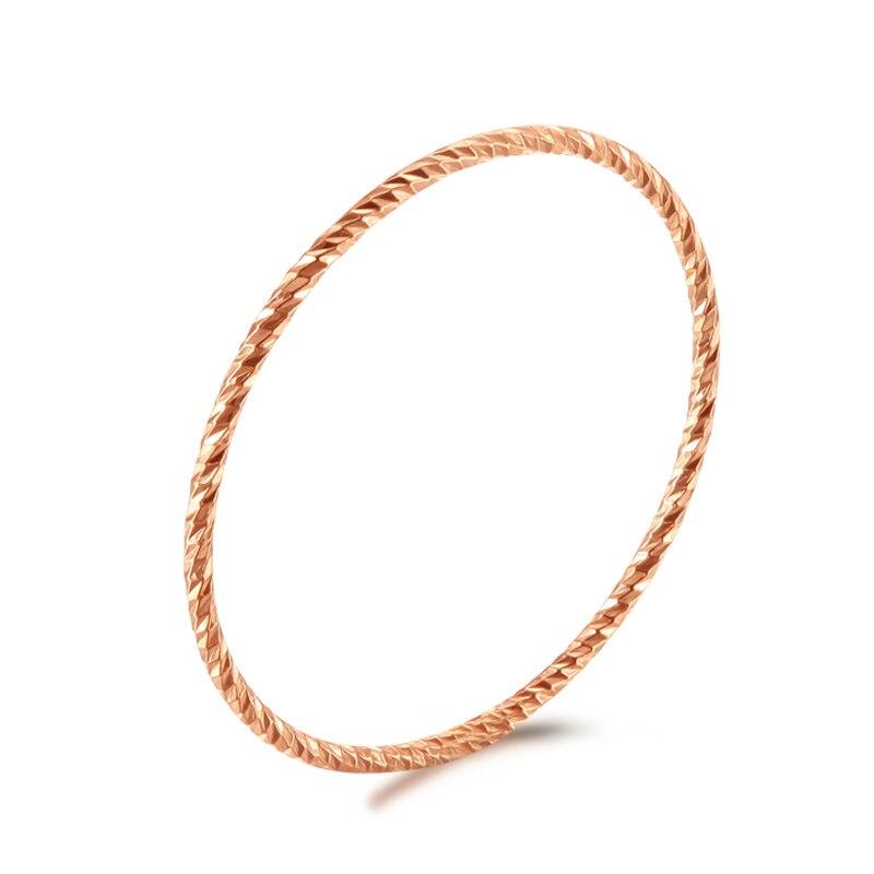 Solide AU750 18K or Rose bague femmes corde forme bague de mariage bande P6112