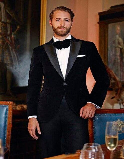 Whole Tailored Slim Fit Black Velvet Groom Tuxedos Groommens Suits Wedding For