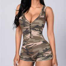 yuqung Camo short jumpsuit romper Dungarees for women macacao one piece bodycon Playsuit Bodysuit overall Combinaison Femme(China)