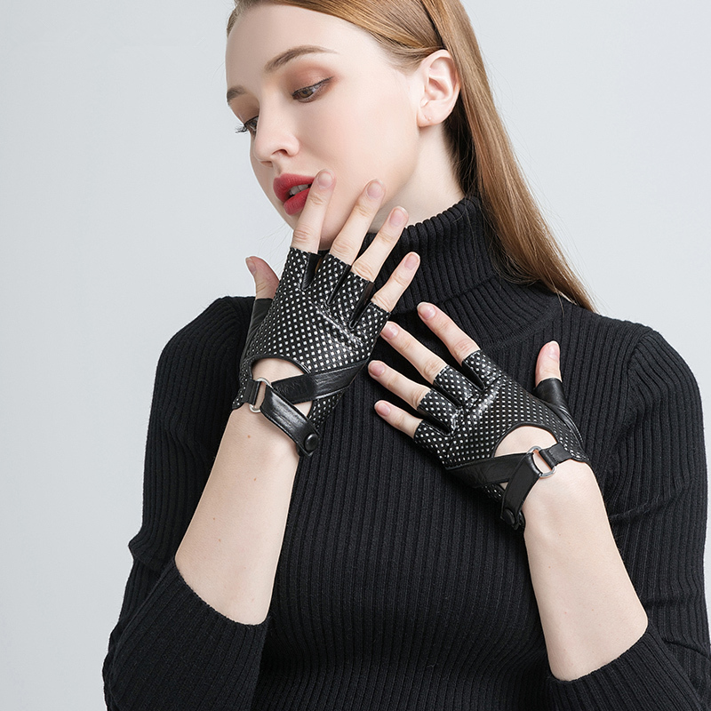Gours Spring Winter Genuine Leather Gloves Women Hand Fingerless Gloves Fashion Driving Motorcycle Warm Unlined Mittens GSL058