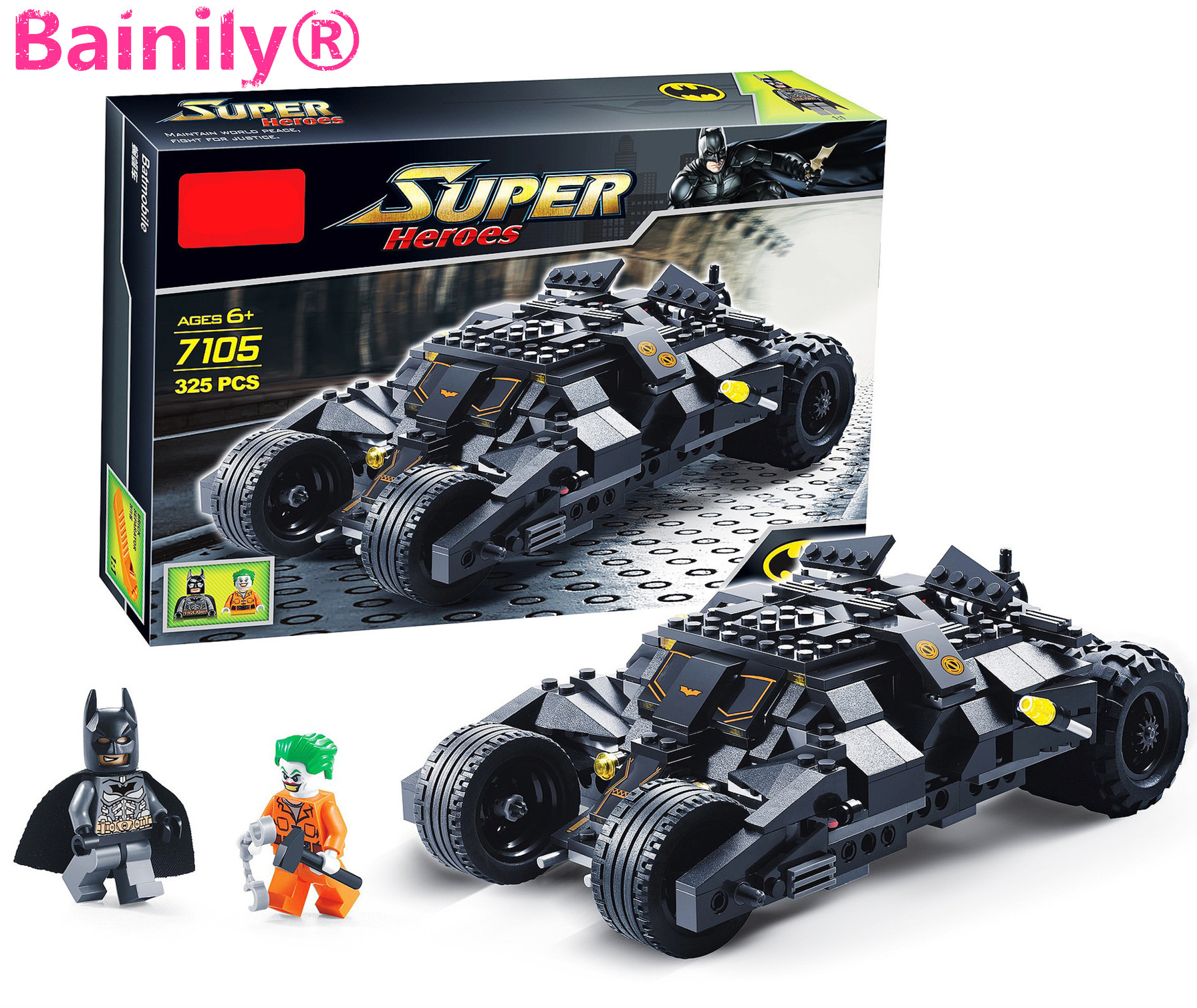 Bainily Super Heroe Batman Race Truck font b Car b font Model Technic Building Block