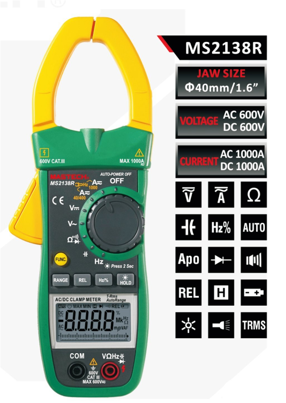 Hot MASTECH MS2138R 4000 Counts Digital AC DC Clamp Meter Multimeter Voltage Current Capacitance Resistance Tester mastech ms2001c digital clamp meter multimeter ac dc voltage current diode resistance measurement