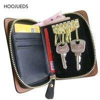 Genuine Leather Men Key Holder Multifunctional Key Case Wallet For Car Keys HOOJUEDS