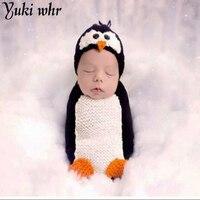 Newborn Baby Girl Boy Cartoon Pinguino Cappello Del Crochet Fotografia Props Outfit Infantile Del Bambino Di Compleanno Vestiti Servizio Fotografico Puntelli Foto