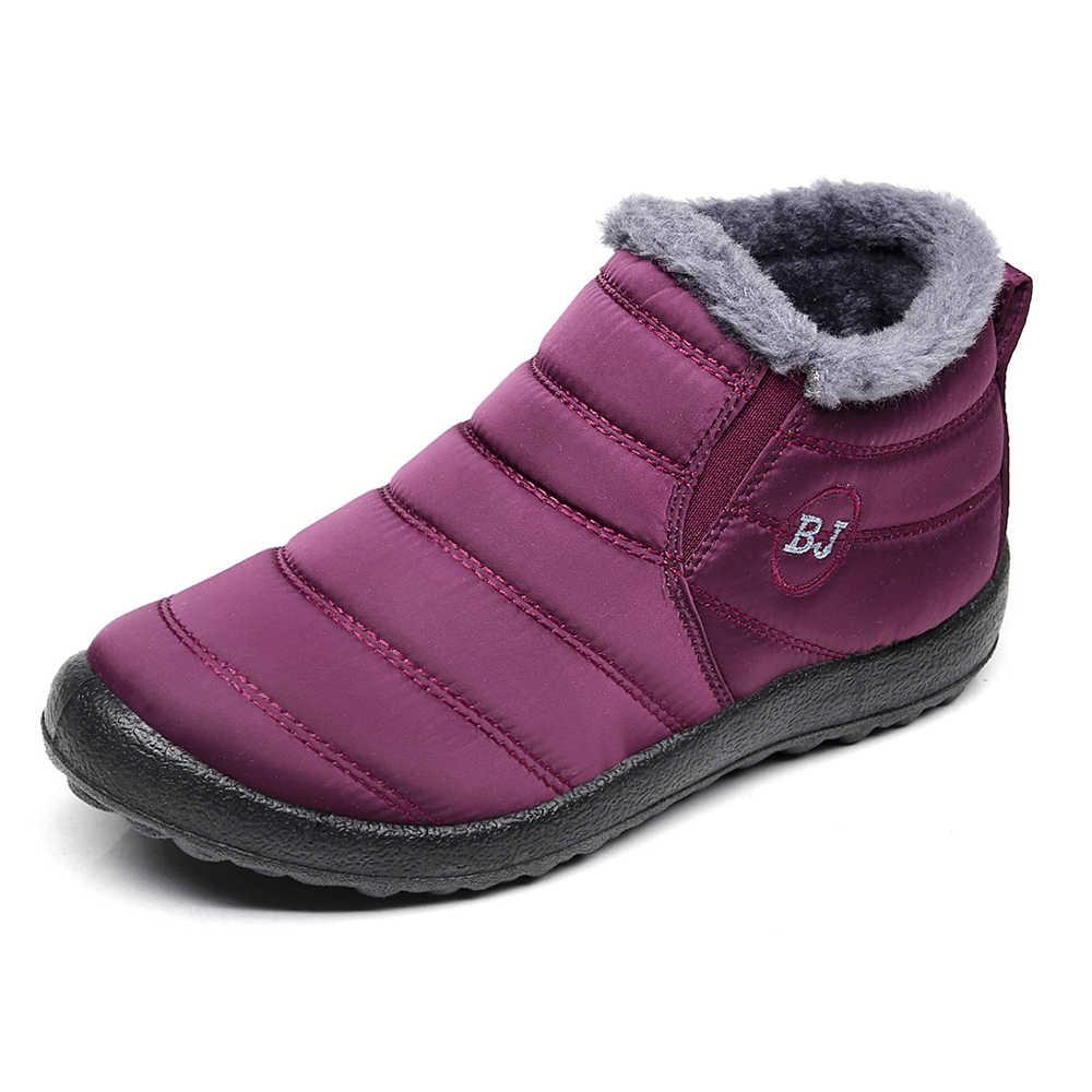 Plus Size 35-46 Nữ Giày Nữ Mùa Đông Giày Giữ Ấm Ủng Sang Trọng Bên Trong Chống Trượt Đáy Chống Nước Trượt Tuyết mắt Cá Chân Giày