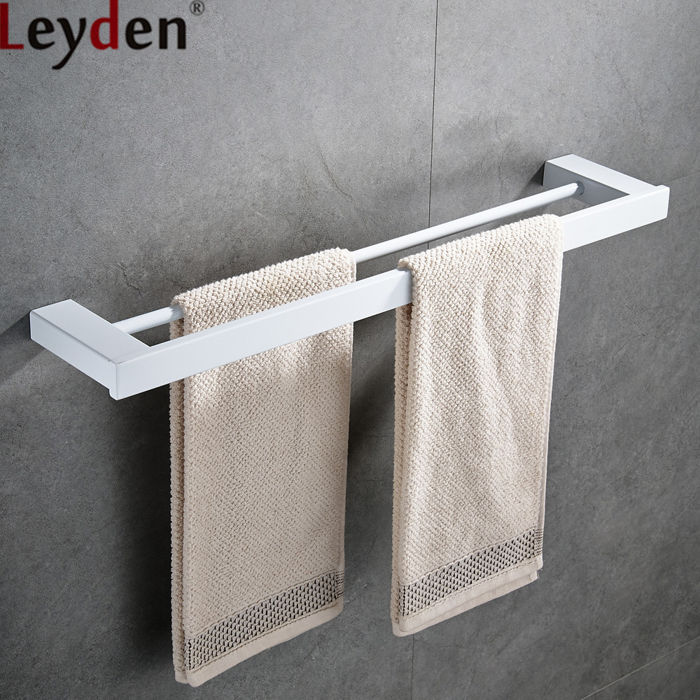 Leyden Whitened Finish Double Towel Bars Stainless Steel Wall Mounted Double Towel Holders Rails Bathroom Accessories