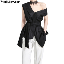 YUKIESUE Sleeveless Sashes Tunic Women's Blouses Shirts Summer 2018 V Collar Black Khaki Irregular Loose Shirt Tops Casual