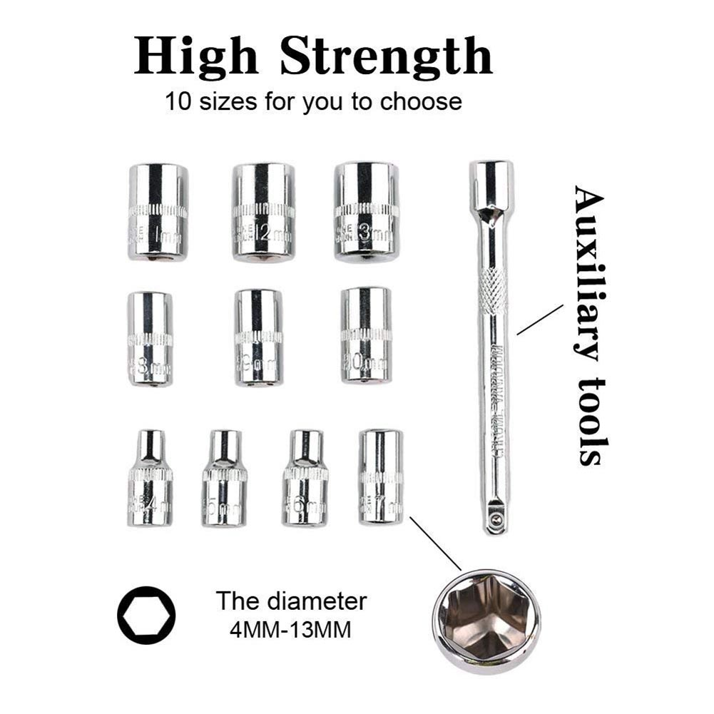 Image 4 - 28Pcs Car 1/4 Inch Ratchet Wrench Socket Release Extension Bar Repair Tool Set-in Sheet Metal Tools Set from Automobiles & Motorcycles