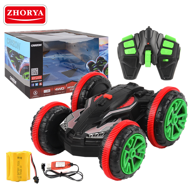 360 Degrees 4wd Amphibious Double Sided Stunt Vehicle Rc Cars Four Wheels Remote Control Special 2.4Ghz Cars for Kids Gifts цена