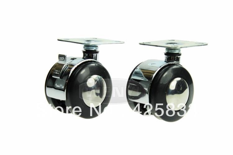 50mm Flat Zinc Alloy Rubber Caster Polyurethane Caster Wheel  Plastic Nylon PU Polyurethane Furniture Wheel 110kg No Brake 2pcs 2 inch omni directional flat black swivel nylon furniture caster wheel zinc alloy plate with brake