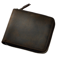 100 Genuine Leather Short Women Wallet Small Around Zip Wallet Coin Pocket ID Card Holders Purse