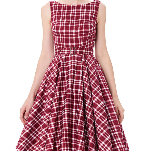 Womens Vintage Plaid Party Dresses 2017 Casual 50s 60s Robe femme Pin Up Retro Summer Style Plus Size Women Rockabilly Clothing
