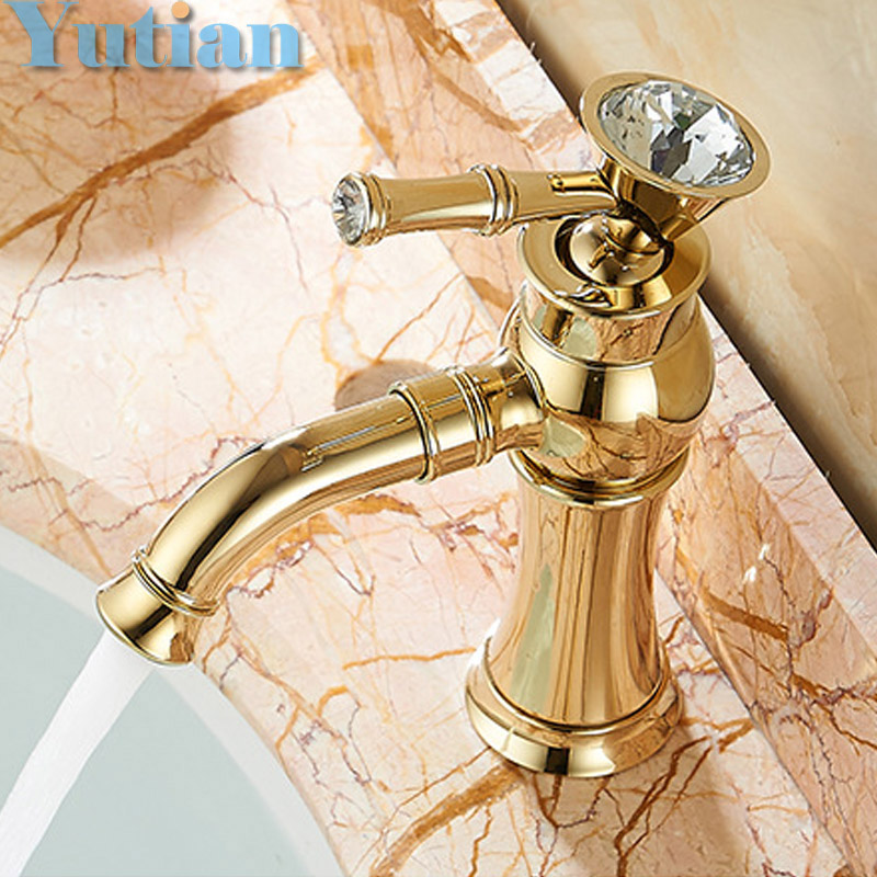 ФОТО Free Shipping New arrival Bathroom gold Basin Faucet Gold finish Brass Mixer Tap with ceramic torneiras para banheiro YT-5027