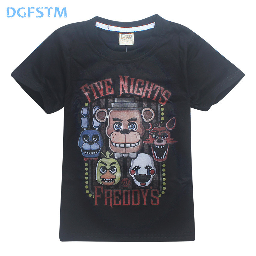 5 Freddys Tops Tee 4-12Y 2017 summer Children's Clothes Five Nights At Freddy's T-Shirts Kids T Shirts Boys Clothing roblox poli