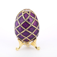 Easter eggs Jewelry Box Gold plated diamond painting oil ornaments metal crafts purple Easter gift birthday gift