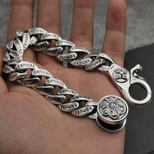 14 мм, чистое серебро 925 пробы, браслеты для женщин и мужчин, хорошее ювелирное изделие, Ретро стиль, S925, твердый мантра, тайский серебряный браслет-цепочка
