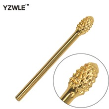 цена на WUF Oval Shape YG8 Tungsten Steel Diameter Gold Plated Nail Drill Bit / Grinding Head Tool For Nail Art Drill Machine