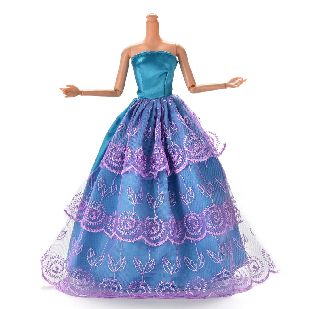 Hot Sale 3 Layers Lace Ball Gown Dress For Barbie DIY Beautiful Party Clothes Doll Clothing Girls Gift