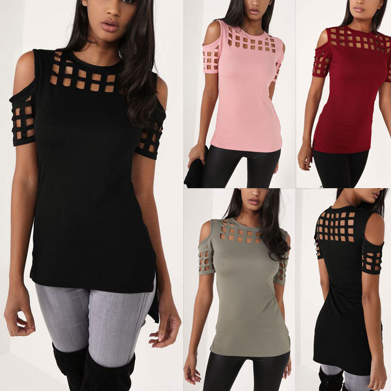 4 Colors Women's Short Sleeve Shirts Tops Bodycon Hollow Out Block Cold Shoulder Cotton Shirts Slim Blusa Feminino LX235 2