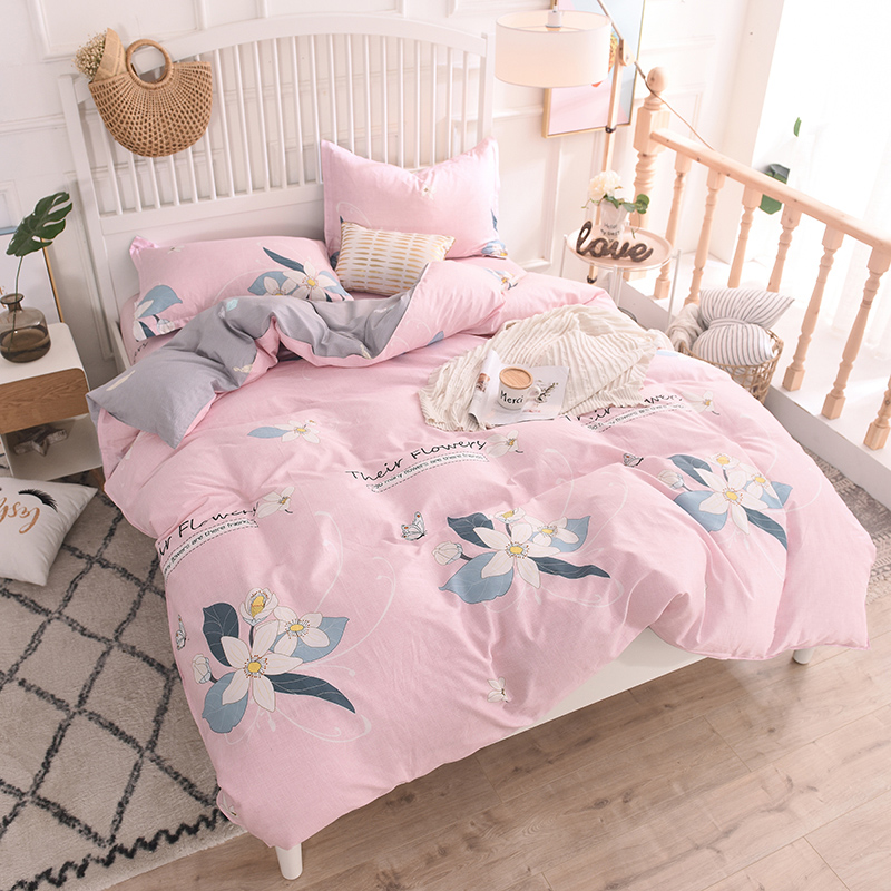 Modern Style Pink Print Bedding Set Cotton 4Pcs King Queen 4 Size Boho Bed Set Duvet Cover Bed Sheet Set Bedspread PillowcaseModern Style Pink Print Bedding Set Cotton 4Pcs King Queen 4 Size Boho Bed Set Duvet Cover Bed Sheet Set Bedspread Pillowcase