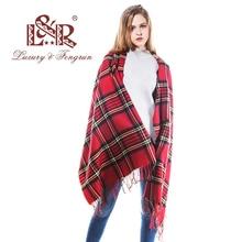 2018 ponadgabarytowych paszmina z frędzlami zimowy szalik damski kobiety Plaid koc wełny szaliki Cashmere kobiety Foulard Femme szale okłady