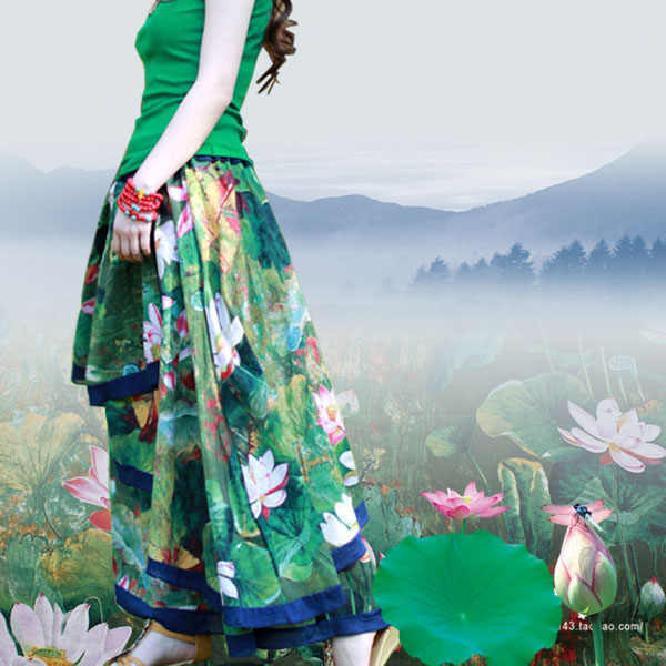 0,5 mt Baumwolle Leinen Lotus Kleid Shirt-stoff Malerei Blume Chinese Wind Frühling/sommer Flachs Bluse Qipao Stoff Tischdecke grün