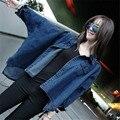 Осенние Новых Мужчин Джинсовые Куртки Корейский Стиль Свободные Batwing С Длинным Рукавом Джинсы Основные Пальто Женский Ретро Повседневная Blue Jean Outwears