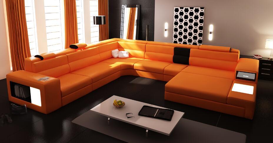 Aliexpress Moderne Wohnzimmer Ecksofa Aus Leder U Frmige Schnittsofas Mit LED Licht Von Verlsslichen Sofa Lieferanten Auf REY DESIGN Kaufen