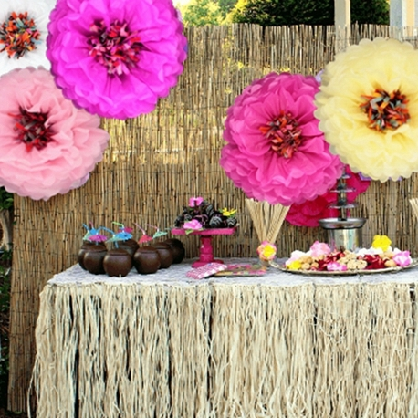 Tropical Hawaiian Party Decoration 1pc 14 quot 35cm Chrysanth Flowers Tissue Pom Poms Flower For Wedding Decor Beach Luau Party in Party DIY Decorations from Home amp Garden