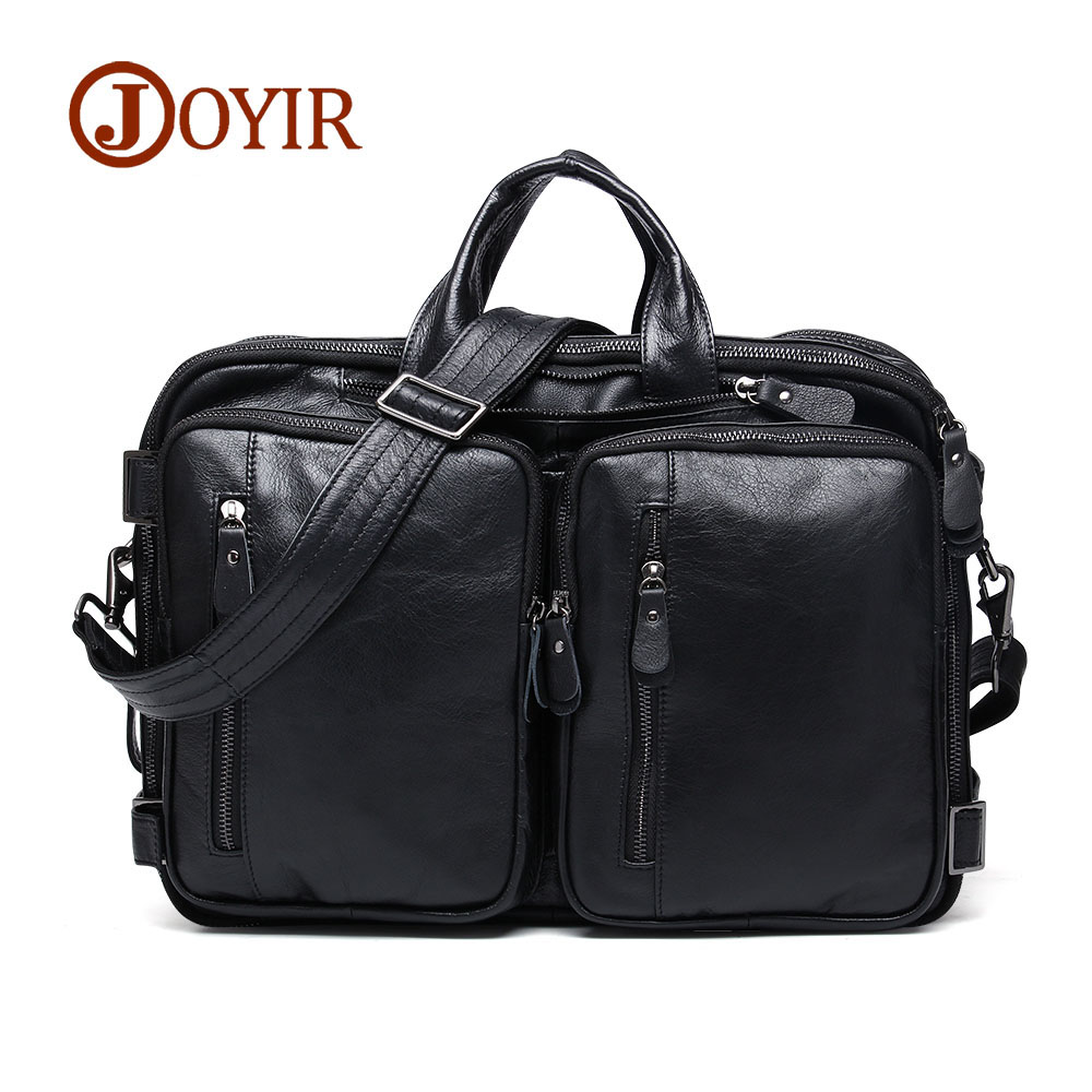 JOYIR Multifunctional Genuine Leather Briefcases Men Male Shoulder Bag Travel 15 Laptop Business Handbag