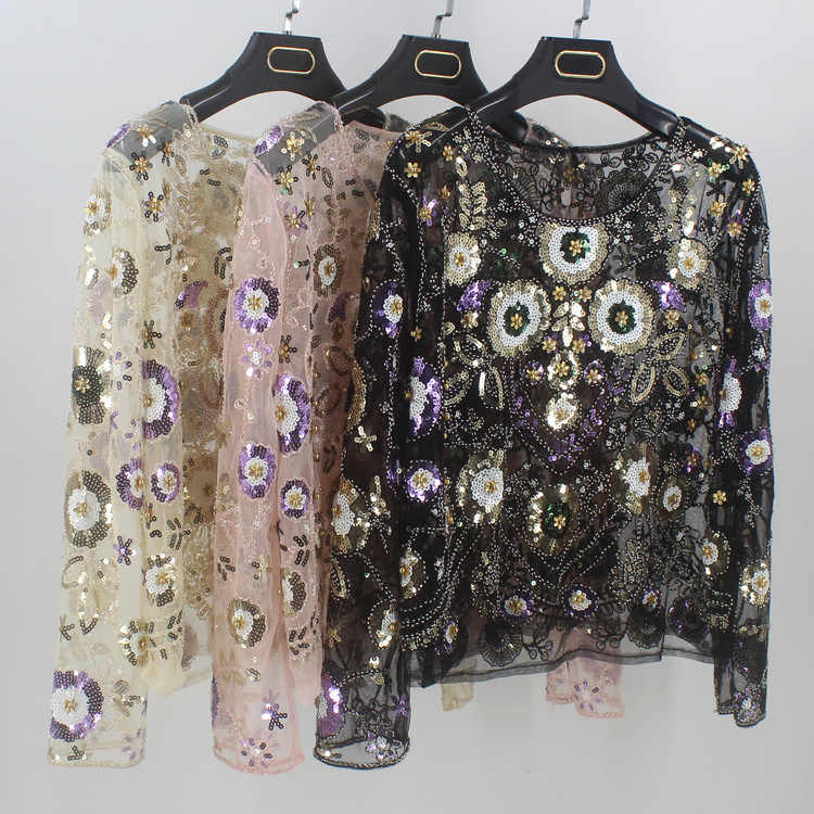 Luxuary Women Shirts Vintage Embroidered Floral Sequin Bead Pearl Mesh Long  Sleeve Applique Blouse Top Handmade c8a195455b23