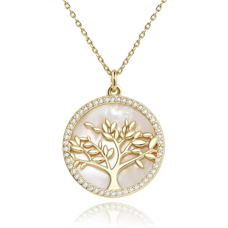 Popular Jewelry Gold Plated Brass CZ Pearl Shell Pendant Necklace Women (6)