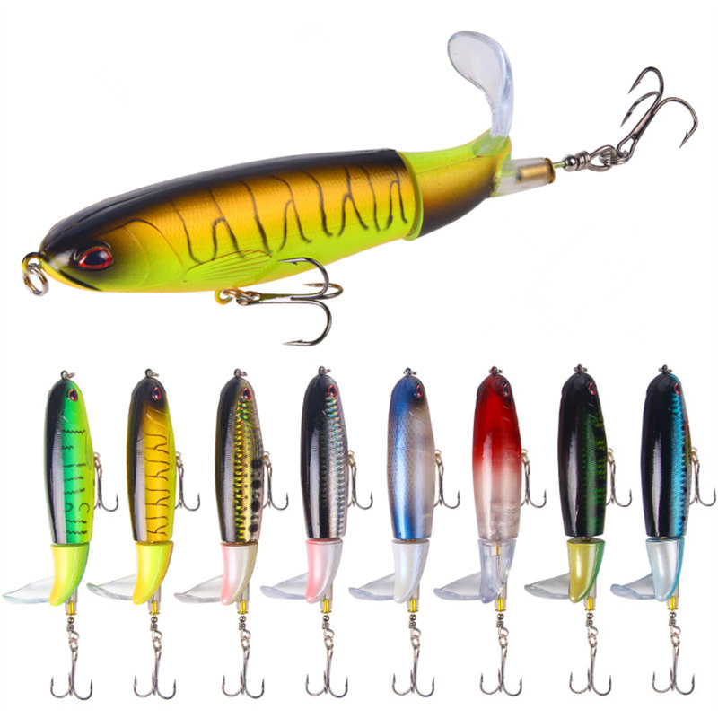 1PSC Professional Whopper Popper 10cm/14cm Topwater Fishing Lure Artificial Bait Hard Plopper Soft Rotating Tail Fishing Gear