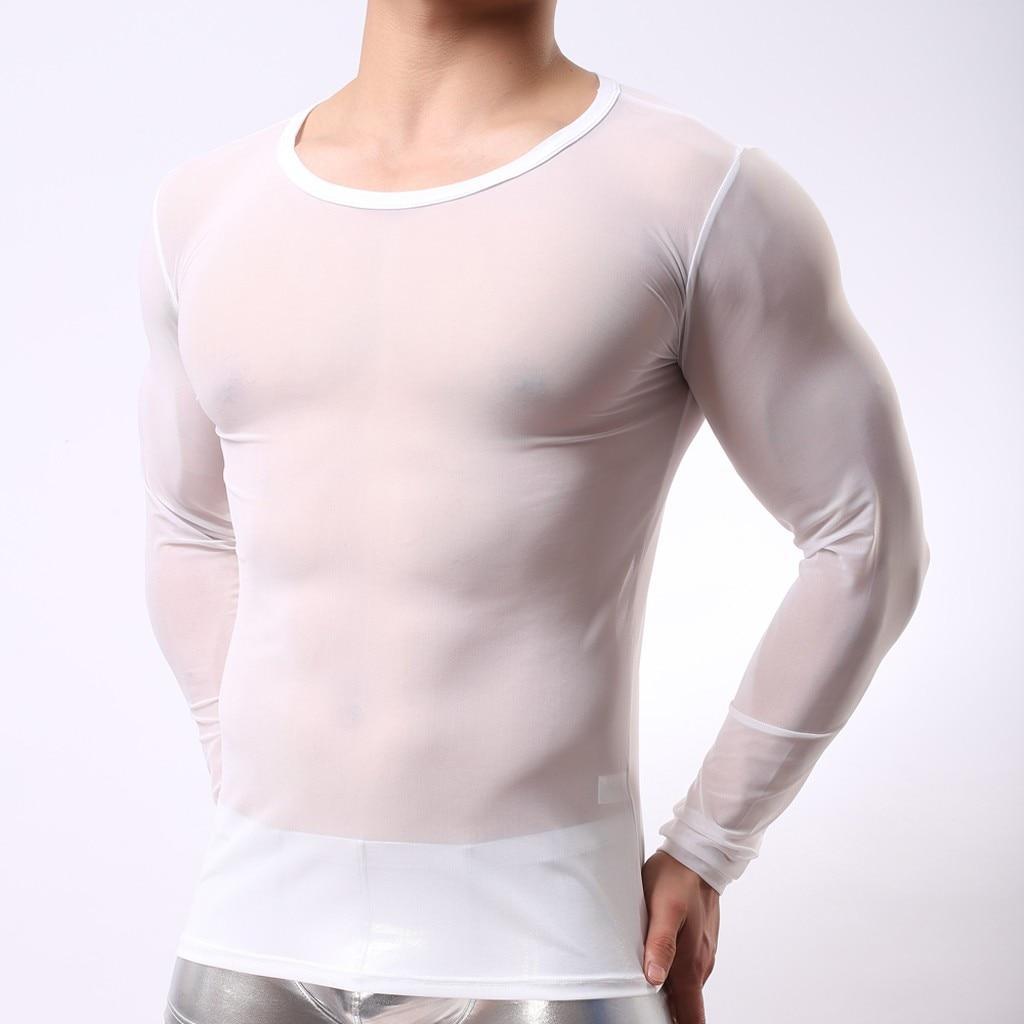 2019 Summer Men Undershirt Muscle T-shirts  Men's Sexy  Fashion Breathable Transparent Mesh Long Sleeve T-shirt Tops#3G